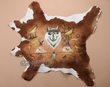 "Hand Painted Calf Skin Cowhide 37""x25"" -Wolf  (ph63)"