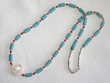 "American Indian Necklace -24"" Turquoise &  Coral (16)"