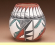 Southwest Tigua Indian Vase - Feather (aa)