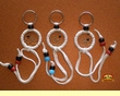 3 Native American Dream Catcher Key Chain Set -Beaded  (k3)