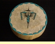Native American Tigua Indian Painted Drum - Zia Rainbird 12""