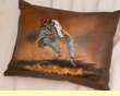 Painted Cowhide Pillow - cowboy  (15)
