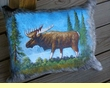 Painted Cowhide Pillow - Moose  (19)
