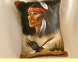 Painted Cowhide Pillow - Native American (20)