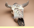 Southwest Painted Steer Skull 16x20 -Cave Art  (ps77)