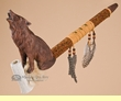 "Decorative Native Style Peace Pipe 17.5"" -Wolf"