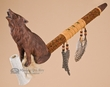 """Decorative Native Style Peace Pipe 17.5"""" -Wolf"""