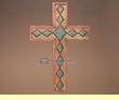 "Southwest Hand Carved Wooden Cross 17""  (c29)"