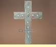 "Carved Southwestern Wooden Wall Cross 17""  (c30)"