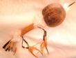 "Tarahumara Decorated Natural Gourd Rattle 13"" (145)"