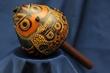 "Hand Carved Andean Indian Gourd Rattle 7"" -Owl  (2)"