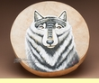 "Hand Painted Tarahumara Drum 16"" -Wolf  (60)"