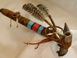 "Native American Beaded Antler Pipe 12"" -Tigua  (35)"