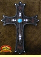 "Southwestern Style Wall Cross 16"" -Turquoise  (17)"