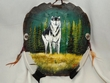 "Painted Turtle Shell Mandella 10""x9"" -Wolf   (23)"
