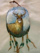 "Painted Turtle Shell Wall Hanging 5""x7"" -Deer   (39)"