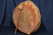 Old Tarahumara Indian Ceremonial Painted Drum 18x3