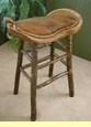 "Western Saddle Oak Bar Stool 29"" -Cow Hide Seat"