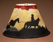 "Painted Leather Lamp Shade 12"" -Trail Ride  (PL48)"
