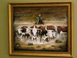 "Hand Painted Western Art 19""x23"" -Cattle Drive  (6)"