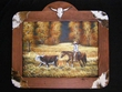 "Hand Painted Cowboy Art  & Cowhide Frame 25""x29""  (22)"