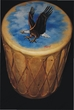 "Painted Tarahumara Drum Table 12""x18"" Eagle"