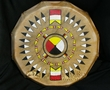 "Lakota Painted Drum 16"" Black Bonnet  -4 Directions (pd74)"