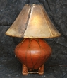 "Indian Pottery Lamp -22"" terra cotta / dark rawhide lace"