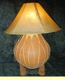 Large Tarahumara Pottery Lamp & Rawhide Shade -26""