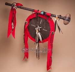 "Native American Stone War Club & Shield 30"" -Tigua  (t100)"