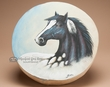 "Native Hand Painted Drum 16"" -Black Horse  (pd32)"