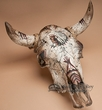 Distressed Hand Painted Steer Skull 18.5x20 -Chief (ps79)