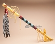"Beaded Pueblo Indian Dreamcatcher Medicine Stick 36""  m82"