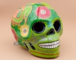 "Painted Day Of The Dead Skull 6.5"" -green  (s5)"