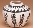 "Tigua Indian Lizard Feather Vase 3.5""  (d)"