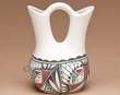 "Tigua Indian Clay Wedding Vase 8"" -Sunface (T13)"