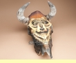 Southwestern Painted Steer Skull -Bear  (psh1)