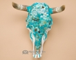 Turquoise Overlaid Painted Steer Skull 16.5x17  (PS15)