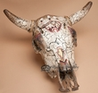 Distressed Hand Painted Steer Skull 21.5x21.5  -Bear  (ps82)