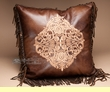Faux Leather Western Embroidered Pillow 18x18  (wp22)