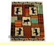 "Southwestern Lodge Fleece Throw 50""x62"" -Patch Work  (ft1)"