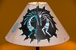 "Painted Leather Lamp Shade 18"" -Kokopelli  (PL95)"
