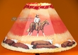 "Painted Leather Lamp Shade -Cowboy Cattle Drive 16""  (PL13)"
