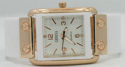 White Cuff Watch Accented in ROSE Goldtones