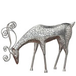 Silver Reindeer Feeding Decor
