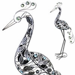 "62"" Giant Filigree Heron - Pewter"