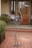 "60"" Metal Filigree Bird - Pewter w/ Blue Beads"
