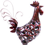 Large Red Rooster Filigree Statue