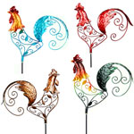 Filigree Rooster Garden Stakes (Set of 4)