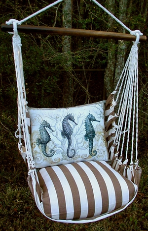 Striped Chocolate Seahorses Hammock Chair Swing Set - Click to enlarge